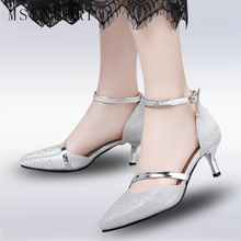 Plus Size 34-46 Summer Woman Sexy High Heels silver and Gold Glitter Sandals Sexy Party Shoes Pointed Toe Pumps Sandales Femme cocoafoal woman silver high heels shoes stiletto plus size 33 43 44 wedding silver gold pumps pointed toe sexy valentine shoes