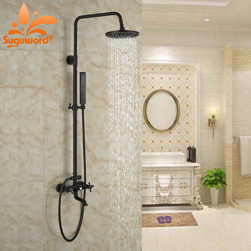 Oil Rubbed Broze Finish Shower Set Bath Rainfall Shower Jet Double Handles Exposed