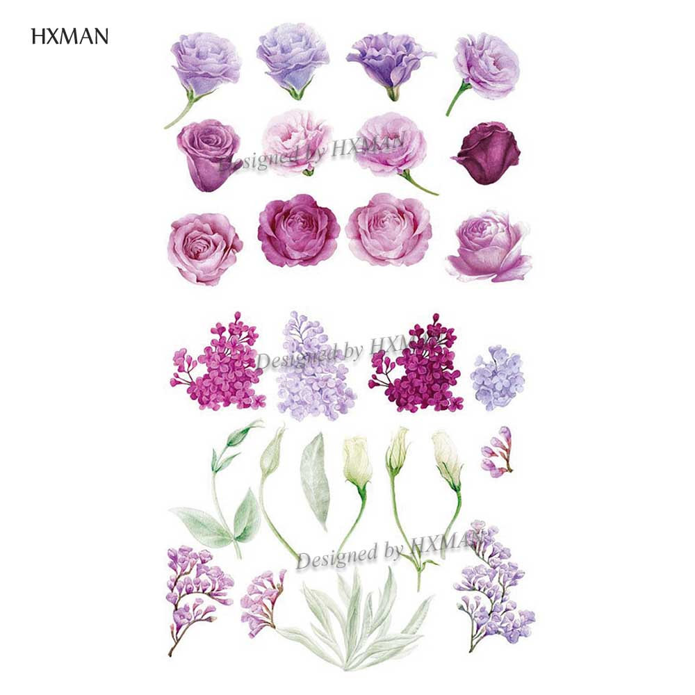 HXMAN Flower Temporary Tattoos Sticker Waterproof Fashion Women Arm Face Fake Body Art 9.8X6cm Kids Adult Hand Tatoo P-059