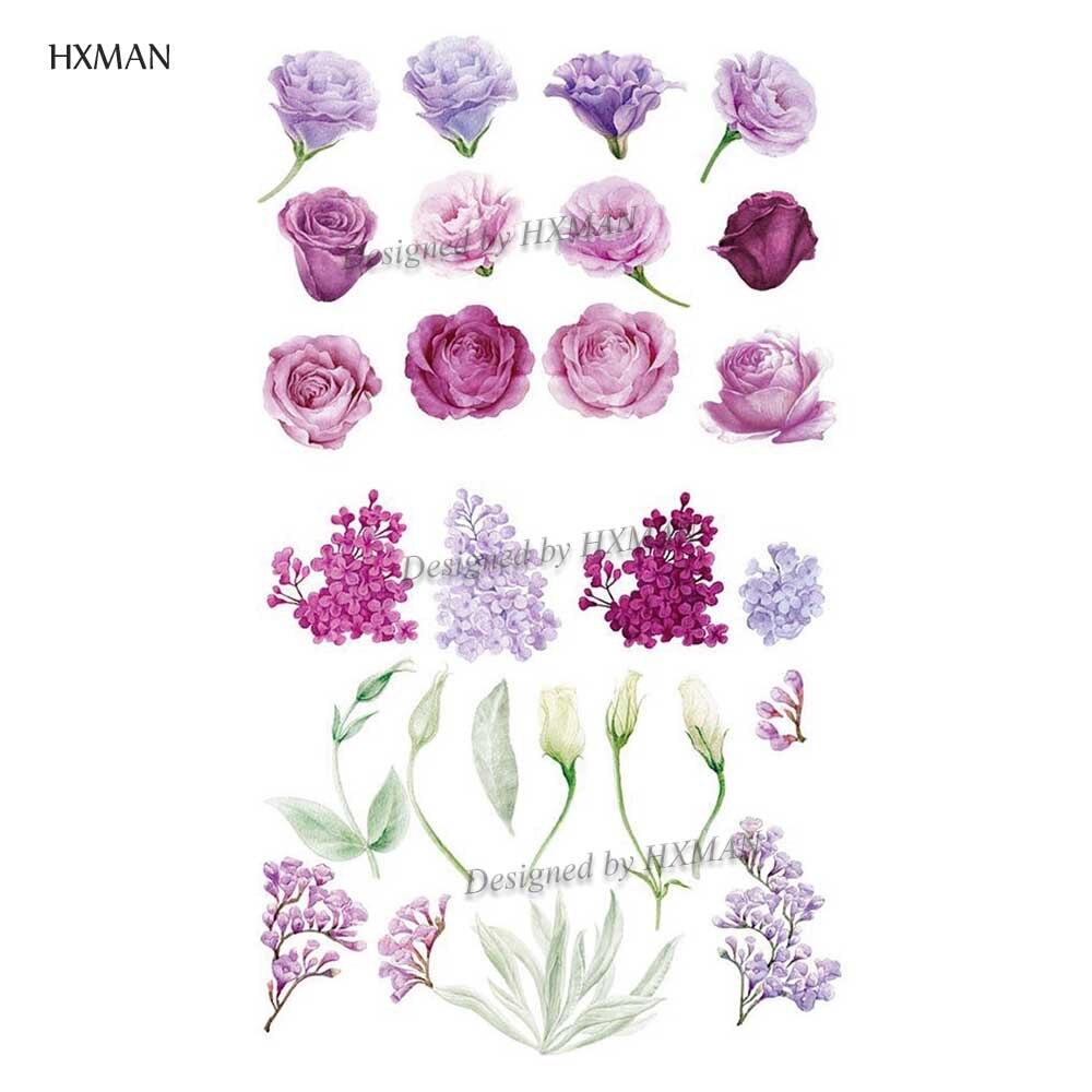HXMAN Flower Temporary Tattoos Sticker Waterproof Fashion Women Arm Face Fake Body Art 9.8X6cm Kids Adult Hand Tatoo P-059