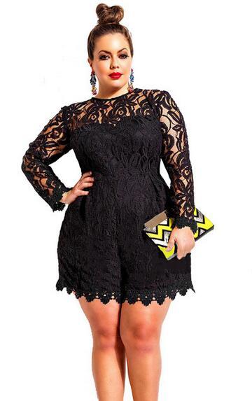 Us 15 86 Berongga Out Lace Jumpsuit Floral Lace Crochet Plus Ukuran Satu Piece Outfit Hitam Jumpsuits Untuk Wanita Lihat Melalui Gemuk Pendek Gadis