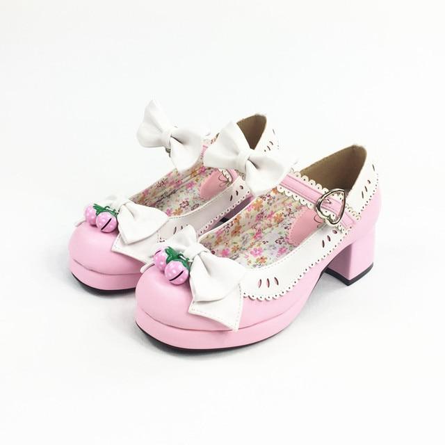 Zapatos de lolita de PU de tacón grueso jUW3t6y2