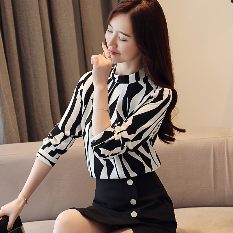 New Arrived Fashion Women Blouse Long Sleeved Printed Women Top  Stand Collar Blouses Slim Fit Office Lady Blusa 0941 40 #4