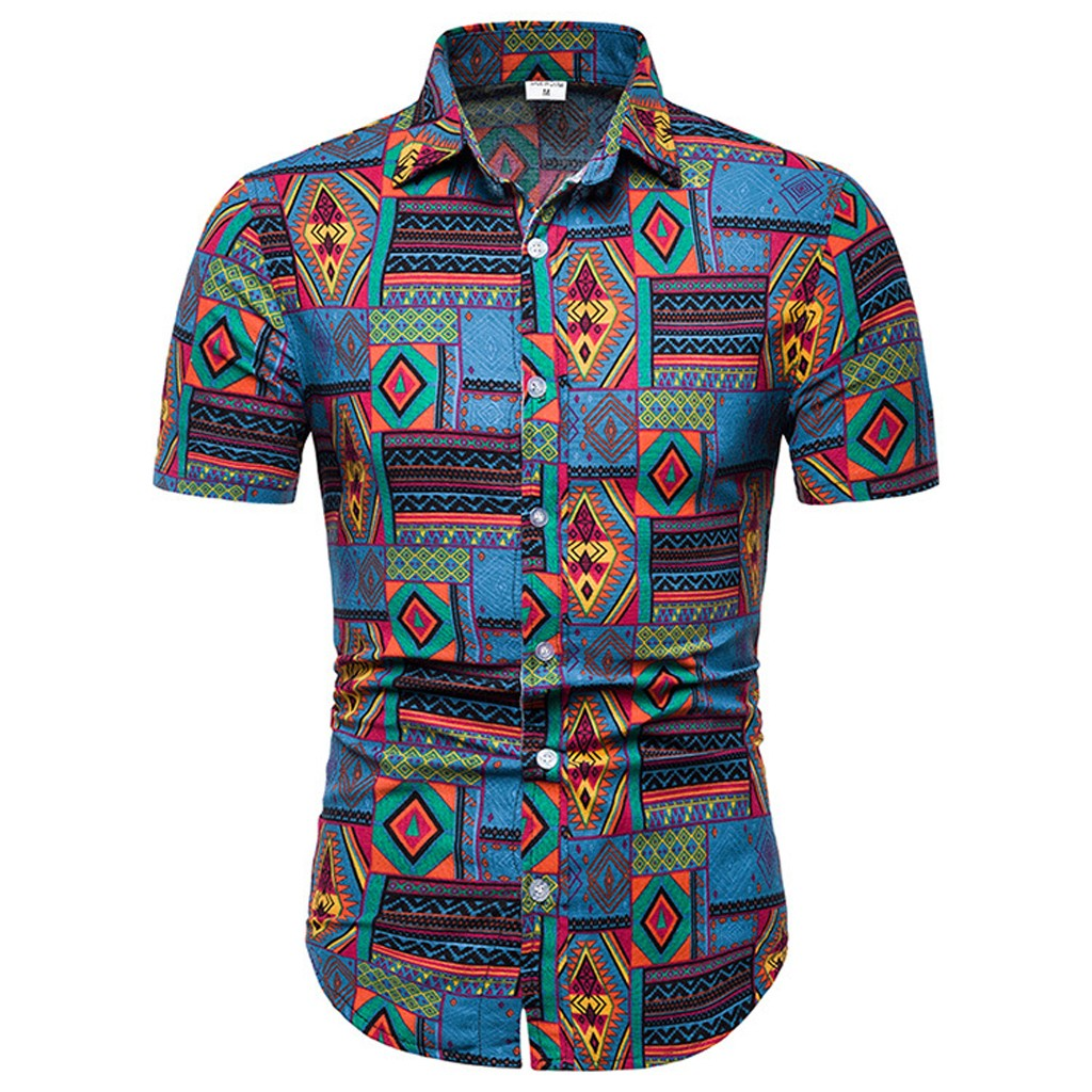 Womail Men's Summer Print Turn-Down Collar Slim Fit Short Sleeve Top Shirt Blouse Casual Shirt Flowers Short Sleeves Pius Size