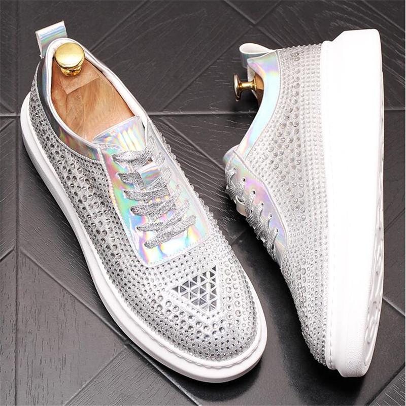 New Dandelion Spikes Flat Leather Shoes Rhinestone Fashion Mens Loafer Dress Shoes Men Casual Diamond Pointed Toe Driving Shoes 5