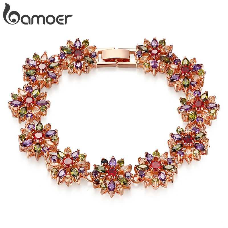 BAMOER CZ Chain Link Bracelet for Women Multi-Color Prong Setting Zircon Best Gift for Anniversary JIB009