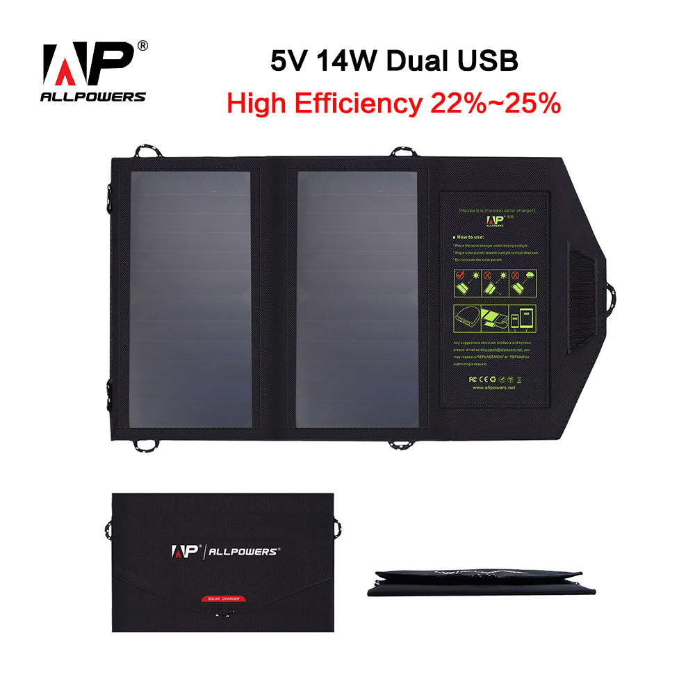 ALLPOWERS 14W 5V Sunpower Solar Charger Panel Battery Dual USB Port for iPhone 6s 6 Plus