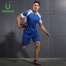 VANSYDICAL Men Running Uniforms Sets Jogging Sports Sportswear Training Fitness Exercise Gym Uniforms Set Clothes Shirt Shorts