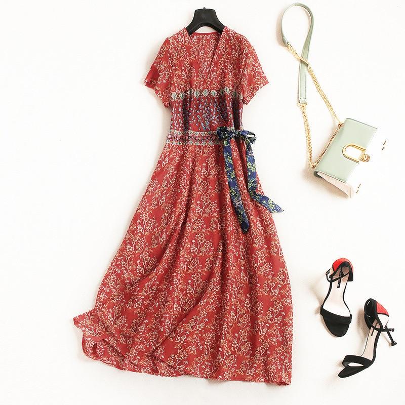 Women vintage fashion floral print kimono V-neck chiffon dress waist beading bow tie elegant dresses new 2018 summer red blue