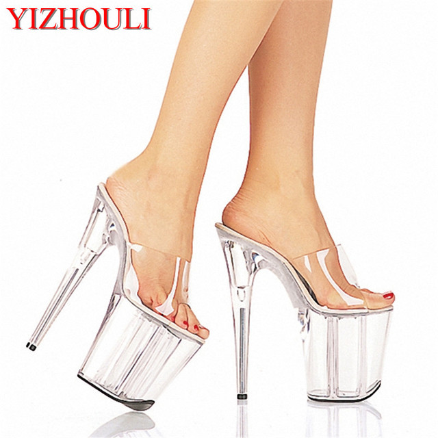 e5cca9e6395 8 Inch Clear High Heel Slipper Gorgeous Crystal Slippers Low Price 20cm  Platform Women s Shoes Club High Heels Dance Shoes