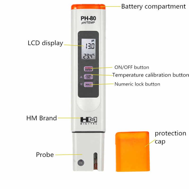HM цифровой PH-80 водонепроницаемый PH измеритель температуры гидро с автоматической калибровкой функция качества воды PH тестер Скидка 40%