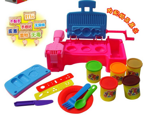 children 3D BBQ color polymer clay machine mould with playdough set,Diy educational toys with retail box