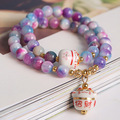 Original Korean Fashion Natural Crystal Colorfull Stone Bracelet Lovely Maneki Neko Charm Beaded Bracelet  Purple Color #3134