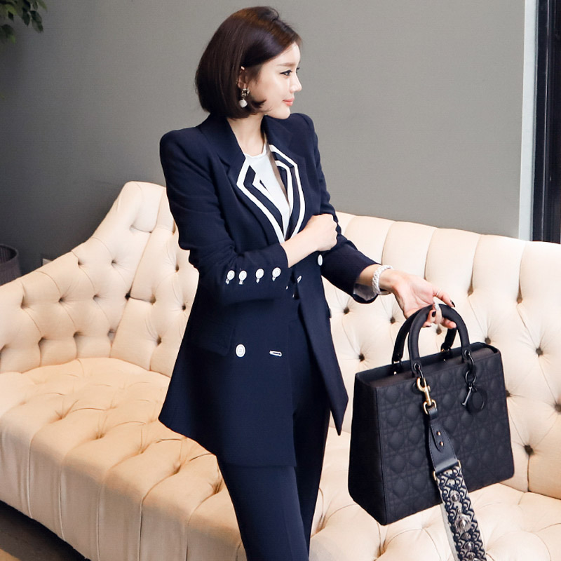 Fashion Double Breasted Hit Color Women Pant Suits Notched Slim Blazer Jacket & Casual High Waist Pant Female 2 Pieces Set