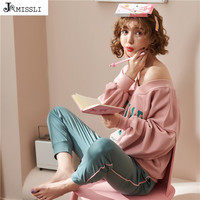 JRMISSLI Home Clothes 2019 Spring New Sleepwear 100% Cotton High Quality Letter Women Pajamas Sets Home Clothing