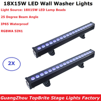 2Pcs/Lot IP65 Waterproof Wall Washer Lights 18X15W LED RGBWA 5IN1 LED Washer Wall Lights Outdoor LED Line Bar Wash Stage Lights