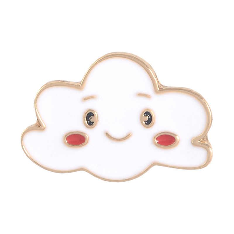 Cartoon Anlage Emaille Pins Sonne Mond Regenbogen Wolke Brosche Taste Abzeichen Lächeln gesicht Schmuck Geschenk für Mädchen Rucksack Zubehör
