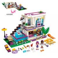 Fit Legoness Friends Series 41135 Livi's POP Star House Designer Set 644pcs Mini figures Building Blocks toys for Girls Gifts
