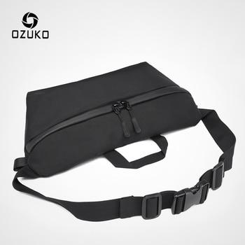 OZUKO Fashion Men Waist Bag Fanny Pack for Teenage Travel Phone Belt Bag Pouch Shoulder Bags Male Waterproof Sport Waist Pack 1