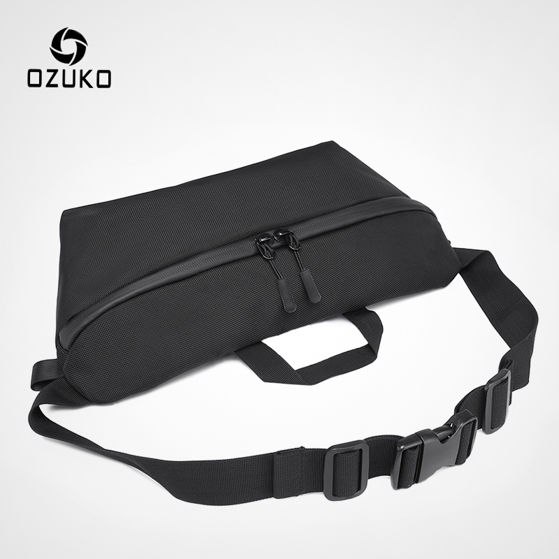 OZUKO Fashion Men Waist Bag Fanny Pack For Teenage Travel Phone Belt Bag Pouch Shoulder Bags Male Waterproof Sport Waist Pack