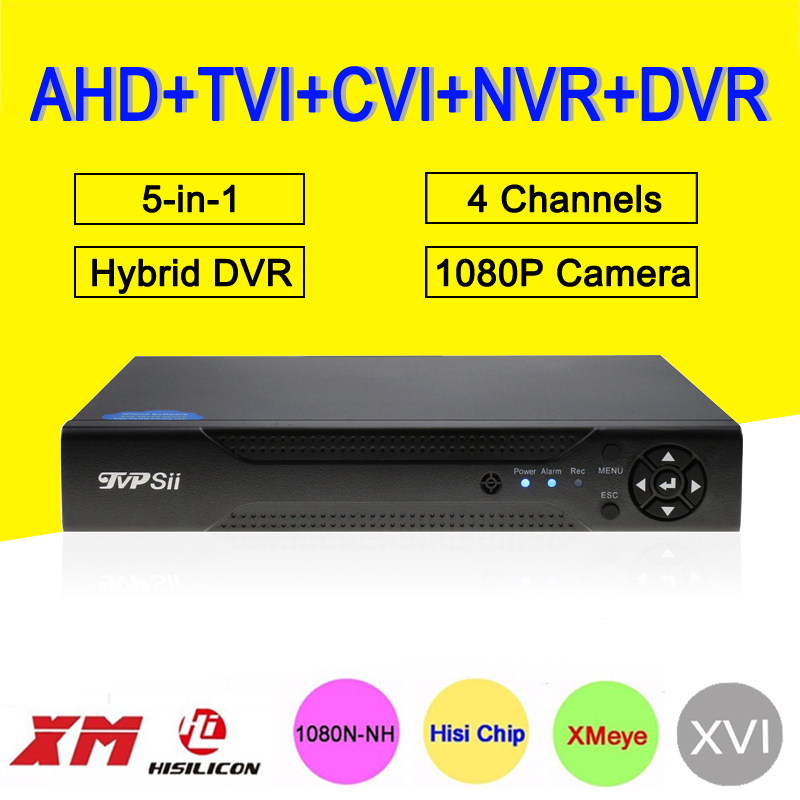 1080P Surveillance Camera XMeye Hi3520D DVR 4 Channel 4CH 1080P 25fps 5 in 1 Hybrid Coxail NVR TVI CVI AHD CCTV DVR FreeShipping