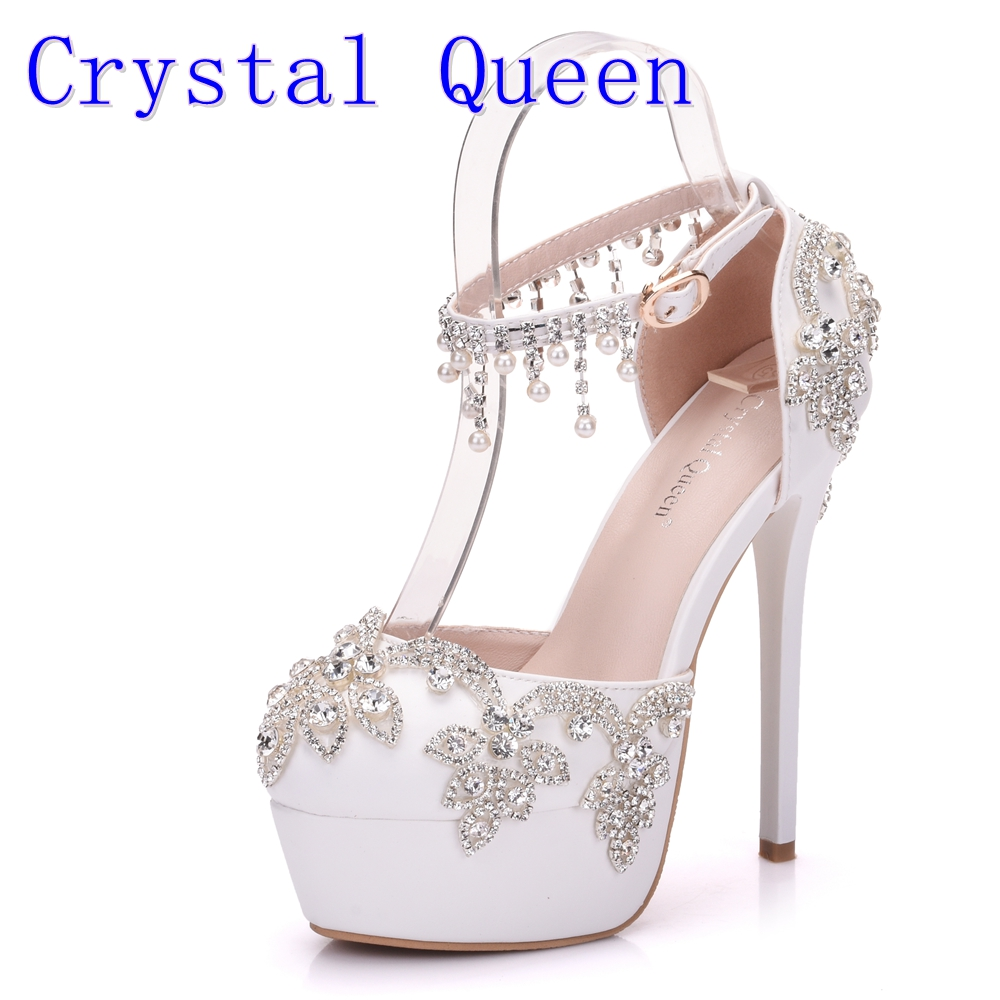 Crystal Queen Summer Sandals White Round Toe Bridal Wedding Women Shoes Crystal High Heel Dress Shoes Rhinestone Ankle Straps summer women sandals ep11062 silver open toe cross ankle strap crystal high heel satin evening dress wedding shoes white ivory