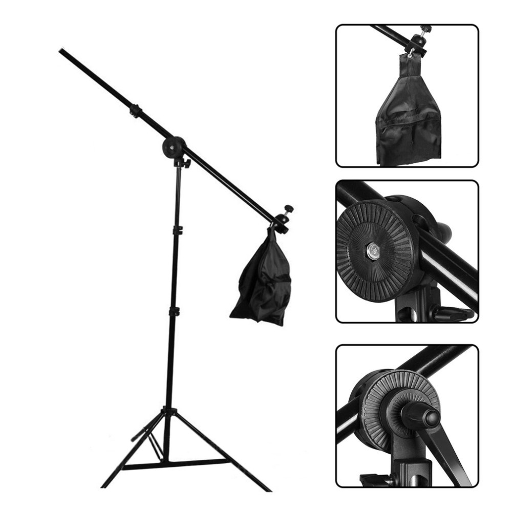 Studio Photo Telescopic Boom Arm Top Light Photography Slope Light Stand Cross Arm With Weight Balancer Sandbag for Speedlite 10pcs lot isl6563cr isl6563 6563cr two phase multiphase buck pwm controller with integrated mosfet drivers
