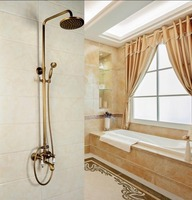Antique Brass Shower Set + Round Rainfall Tub Mixer Tap Double Control Handheld Tube Faucet Bathroom Accessories