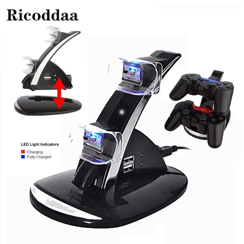 Controller Charging Dock Stand For PS3 LED Light Dual Chargers USB Dual Charging Powered Dock For Sony PlayStation 3 Controller