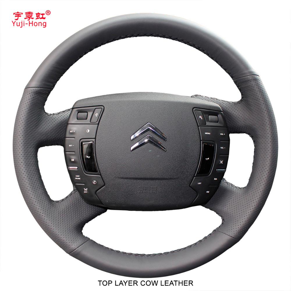 Yuji Hong Top Layer Genuine Cow Leather Car Steering Wheel Covers Case for Citroen C5 2010