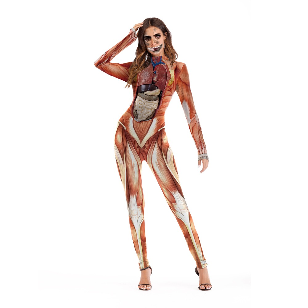 New Stage Performance Costumes Funny Realistic Human Body Structure Print Jumpsuit Cosplay Costume Halloween Anime
