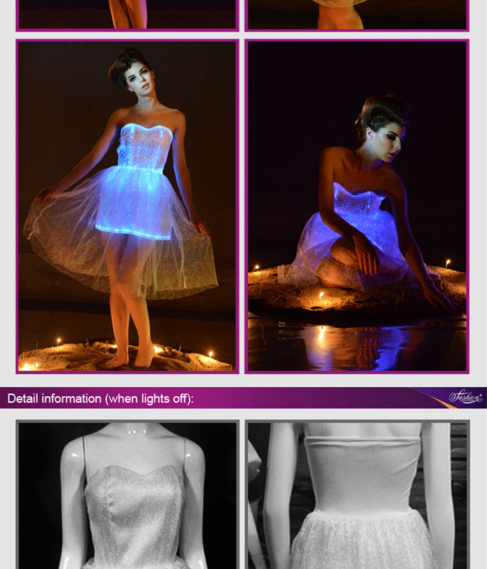 17fashion women sexy vestidos led wedding party dress Turquoise Ball Gown luminous fiber optic Dress women mini carnival dress 4