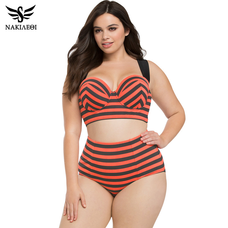 NAKIAEOI 2017 New High Waist Swimsuit Women Bikinis Plus Size Swimwear Female Vintage Retro Red Plaid Beach Push Up Bikini Set tcbsg 2017 new bikinis high waist swimsuit women plus size swimwear female vintage retro beach wear push up bikini set 3xl spa