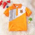 2017 marca de moda verão roupas de bebê menino infantil curto-de mangas compridas lapela costura clássico algodão de alta qualidade camisa pólo spor