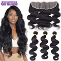 Raw Indian Virgin Hair Body Wave With Closure 13x4 Lace Frontal Closure With Bundles 3  Bundles Human Hair With Frontal Closure