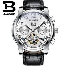 Marca Binger assista Tourbillon automatic relógios mecânicos dos homens de luxo homens calendário de Safira pulseira de couro relogio masculino