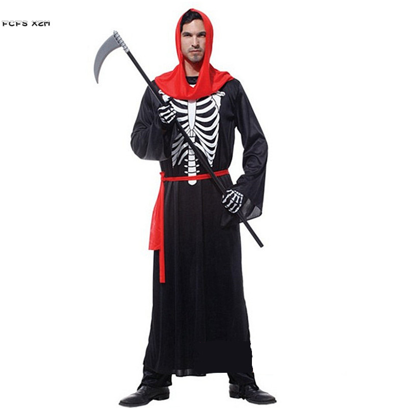 Halloween Hell Devil Demon Costumes for Men Azrael Death Skeleton Scary Cosplays Carnival Purim Masquerade Nightclub party dress
