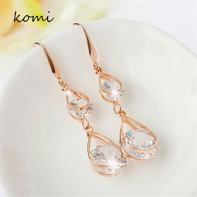 KOMi Double Water Drop Zircon Crystal Drop Earrings For Women Long Rose Gold Earrings Elegant Hypoallergenic Jewelry E-092