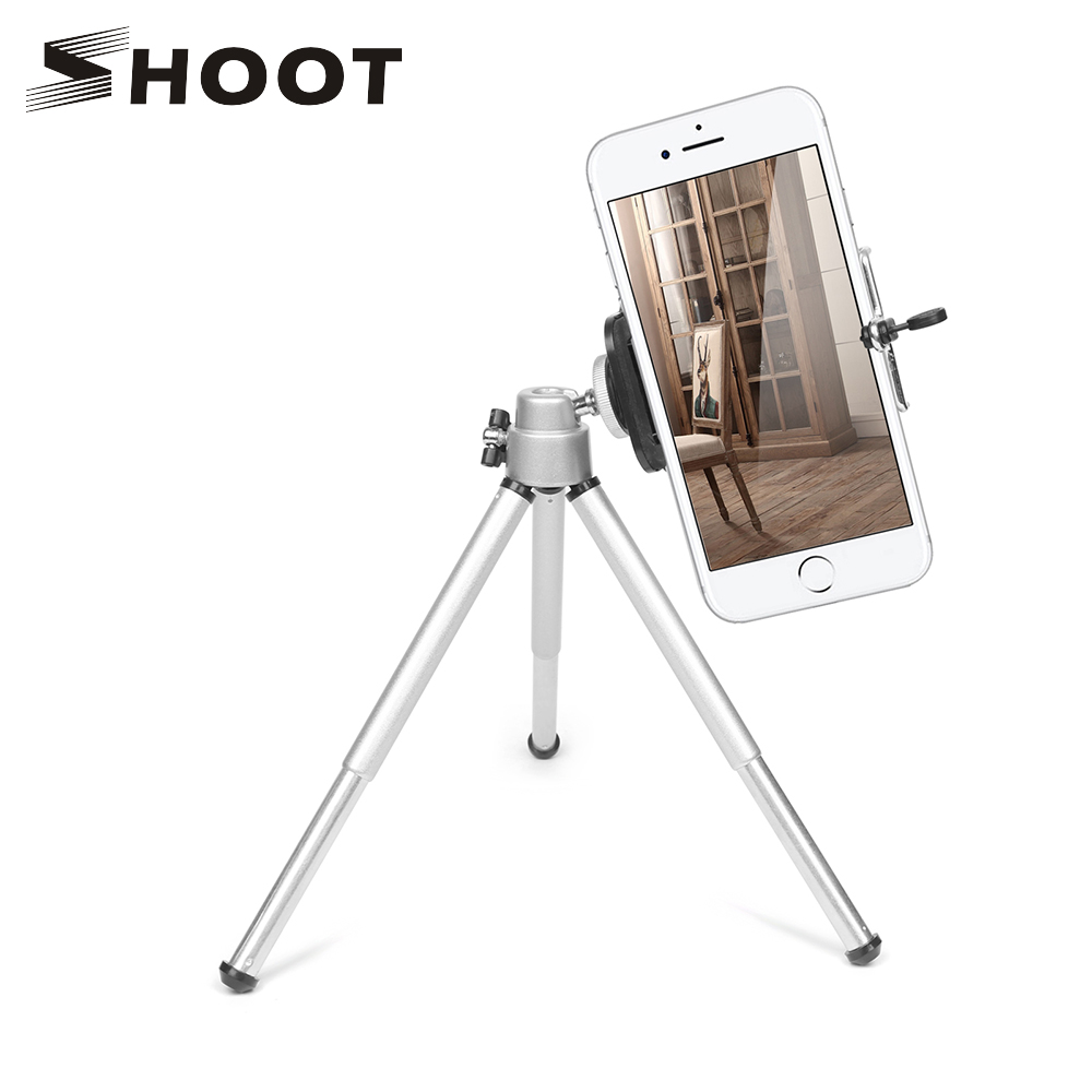 SHOOT Flexible Mini Aluminum Tripod for iPhone X 8 7 6S Xiaomi Samsung Huawei Cell phone Tripod Stand For Mobile Smartphone yixiang mini flexible octopus tripod for iphone samsung xiaomi huawei mobile phone smartphone tripod camera accessory