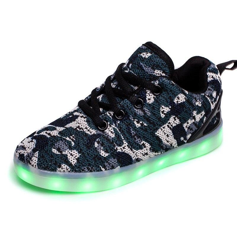 2017 Mais Novo Malha Crianças Conduziu A Luz Sapatos Casuais Sapatos Meninos  Sapatas Do Miúdo de Incandescência Luminosa USB Recarregável ChargingTeens  ... bc693f628cf