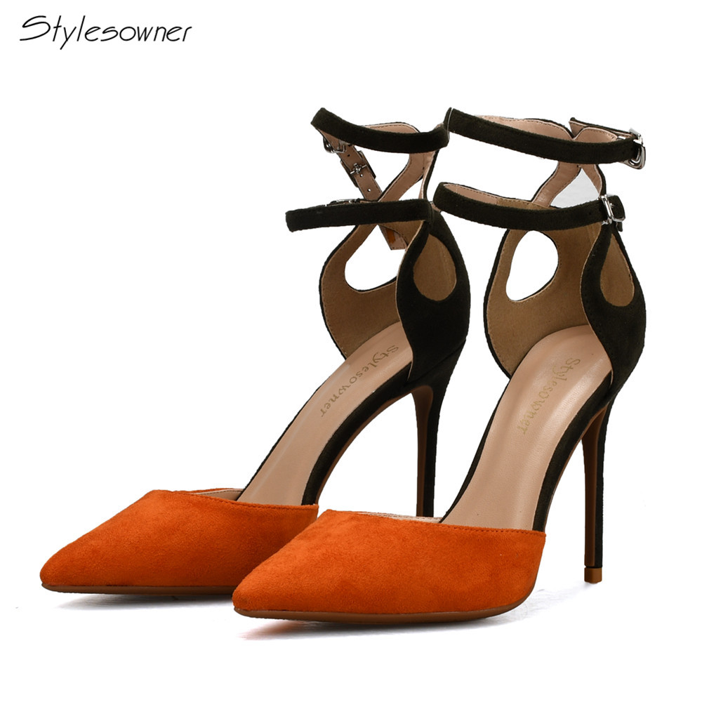 03018e0de Stylesowner Outono Tira No Tornozelo Saltos Altos Plus Size 44/45/46 Dedo  Apontado