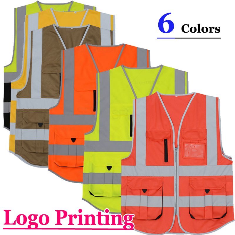 SFvest construction high visibility jacket reflective safety vest mens gilet fluorescent free shipping 5cmx5m gray tc material reflecterende stof for jacket and vest free shipping