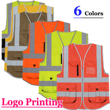 SFvest  construction  high visibility jacket reflective safety vest mens gilet fluorescent free shipping