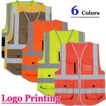 SFvest строительство высокая видимость куртка светоотражающий жилет безопасности Мужская жилетка флуоресцентная Бесплатная доставка