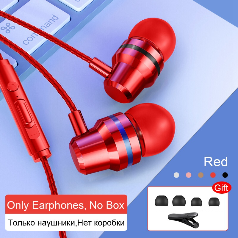TOMKAS Wired Earbuds Headphones 3.5mm In Ear Earphone Earpiece With Mic Stereo Headset 5 Color For Samsung Xiaomi Phone Computer 18