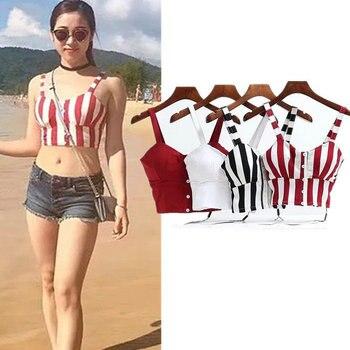 0a5d6c8c2a25 VASLANDA mujer acolchado sujetador camisetas camisola Spaghetti Strap  Cropped Top Bustier camiseta ...