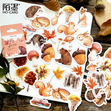 Mohamm Box Journal Japanese Paper Fall Squirrel Stationary Small Travel Diary Stickers Scrapbooking Flakes cheap 8 YEARS OLD 44x44x11mm TZ331