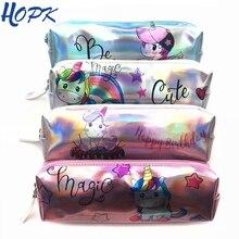 Cute Unicorn Holographic Pencil Case Cactus Alpaca Laser Bag for Girl Pencilcase Stationery School Supplies Box