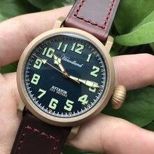 Piloto retro masculino relógios cusn8 bronze mergulhador relógio de pulso 300m resistente à água safira vidro movimento suíço relógio para homem masculino