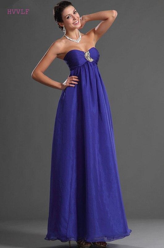 Robes De soirée bleues 2019 a-ligne chérie en mousseline De soie grande taille longue Robe De soirée formelle Robe De bal robes De soirée
